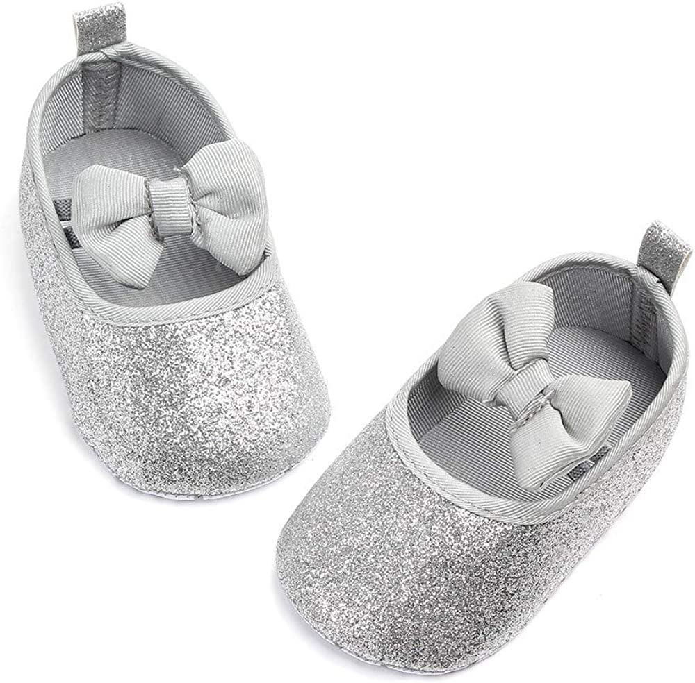 Lanhui Newborn Shoes Baby Girls Cute Bowknot Bling Single Walkers Soft Sole Shoes 0-3Months, Silver