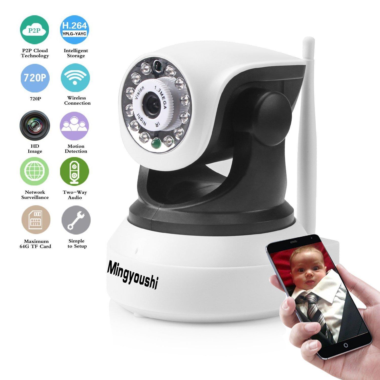 Mingyoushi Wifi Wireless IP Security Network Camera Baby/Nanny Monitoring HD Surveillance Cameras Night Vision plug/play Pan/Tilt with Two-Way Audio Suport TF Card QR Code Scan Easy Installation [並行輸入品] B01KDO2QYU