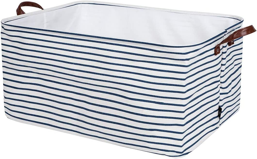 DOKEHOM 22-Inches Thickened X-Large Canvas Drawstring Underbed Toy Storage Laundry Basket -22x15x13 Inches- (Blue Strips, XL)