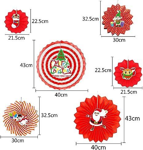 B, M Memela 6 Pcs DIY Paper Fan Tissue Birthday Wedding Party Decoration Xmas Santa Party Hangin,