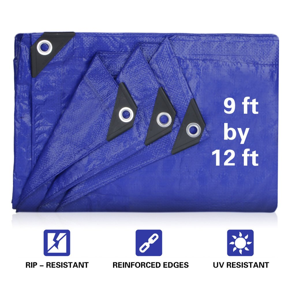 JTW Product 9' x 12' Finished Size, 5 Mil Thick Medium Duty 95gsm Multi-Purpose Waterproof Tarpaulin UV Resistant,Pe tarpaulin, Rot, Rip Tear Proof Boat Tarps Covers with Grommets and Reinforced Edges
