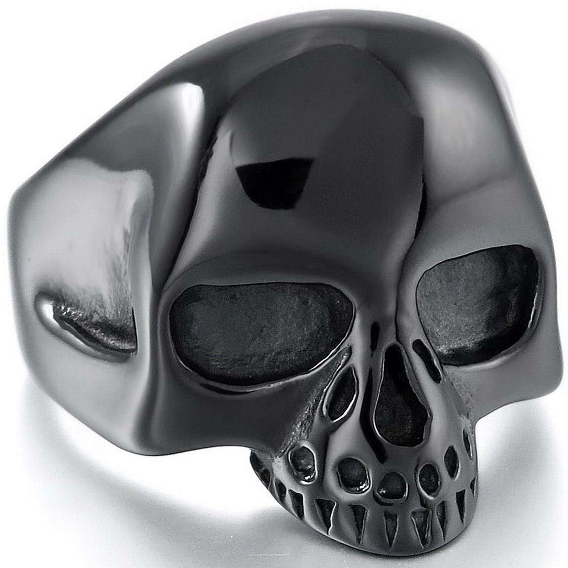 INBLUE Men's Stainless Steel Ring Band Black Alien Skull INBLUE Jewelry mne873-parent