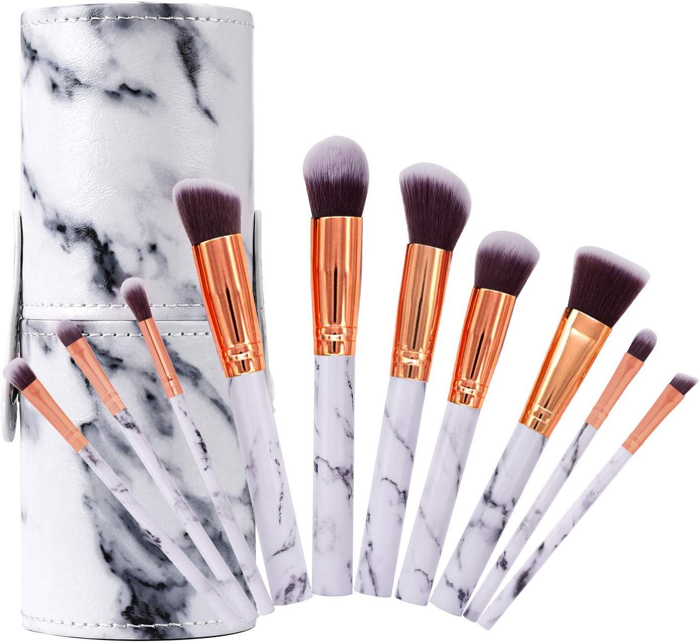 Pinceles de Maquillaje Profesional Set de Brochas de Maquillaje de Mármol Cepillo de Cejas Marbling Sombra de Ojos Cepillo para Polvo Suelto, Contorno y Sombra con Caja de Almacenamiento, 10 Piezas