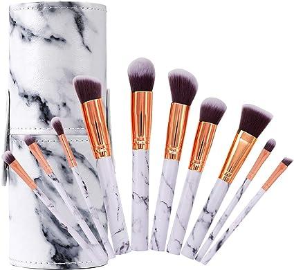 Pinceles de Maquillaje Profesional Set de Brochas de Maquillaje de Mármol Cepillo de Cejas Marbling Sombra de Ojos Cepillo para Polvo Suelto, Contorno y Sombra con Caja de Almacenamiento, 10 Piezas: Amazon.es: