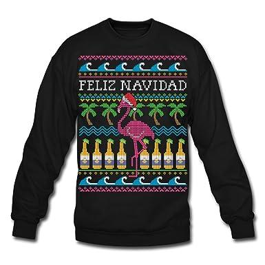 Amazon.com: Spreadshirt Flamingo Ugly Christmas Sweater Crewneck ...