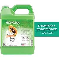 COSMOS 060135 TropiClean Papaya and Coconut 2-in-1 Pet Shampoo, 1 Gallon