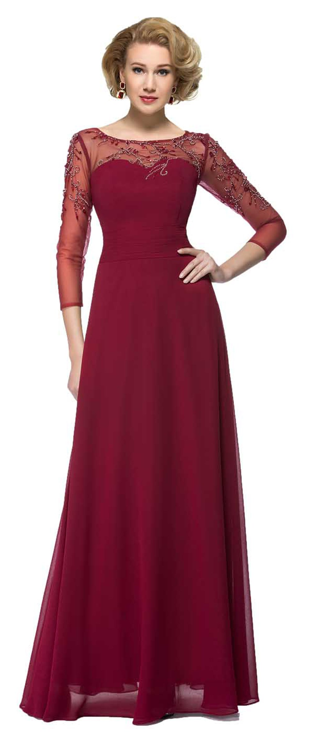 Snowskite Women's Elegant Long Sleeves Chiffon Beaded Mother of the Bride Dress Burgundy 8 by Snowskite (Image #1)
