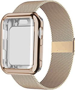 SinJonden Compatible with Apple Watch Band 38mm 40mm 42mm 44mm with Case,Stainless Steel Wristband with Protective Screen Case for iWatch Series 6/5/4/3/2/1/SE (Rose Gold with Rose Gold Case, 42mm)