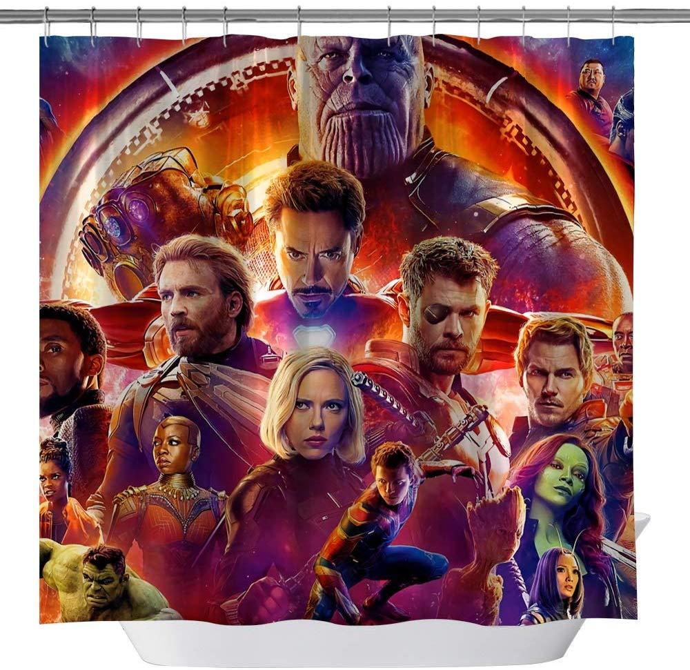 vrupi Marvel Series Movies Avengers Cortina de Ducha Spider-Man Iron Man Green Giant 71x71inch Lavado Tela Impermeable Incluye Doce Ganchos de pl/ástico