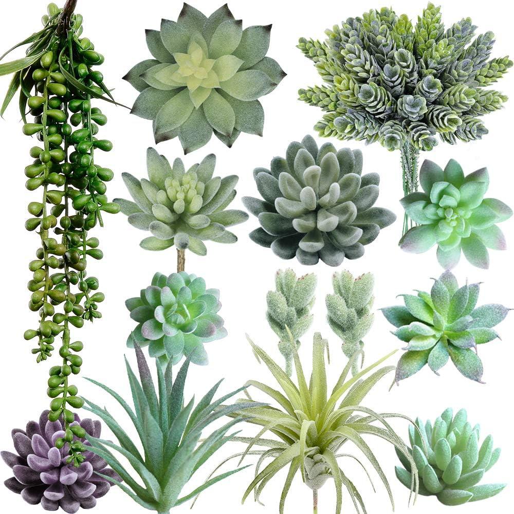 Amazon Com Supla Pack Of 14 Artificial Fake Succulent Plants Bulk
