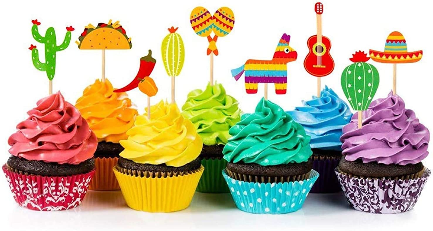 Amazon Com 36 Pcs Fiesta Cupcake Topper Mexican Theme Cake Decoration For Mexican Themed Cactus Donkey Taco Pepper Sombrero Mustache Party Decorations Toys Games