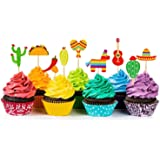 36 Pcs Fiesta Cupcake Topper Mexican Theme Cake Decoration for Mexican Themed Cactus Donkey Taco Pepper Sombrero…