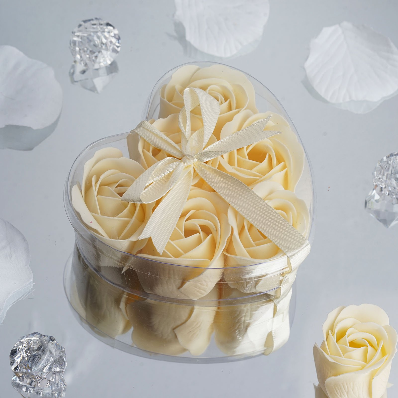 BalsaCircle 100 Gift Boxes with 6 Rose Soaps - Wedding Favors - Ivory by BalsaCircle