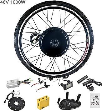 Murtisol - Kit de conversión de motor eléctrico para bicicleta con rueda delantera y trasera, medidor LCD, buje de ciclismo: Amazon.es: Deportes y aire libre