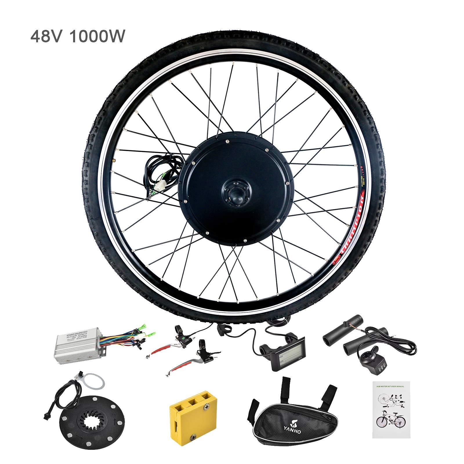 Murtisol Electric Bicycle Motor Conversion Kit-LCD Meter 48V 1000W 26'' Front Wheel E-Bike