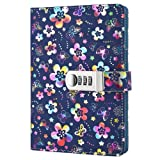 A5 PU Leather Password Lock Diary Peach Cover