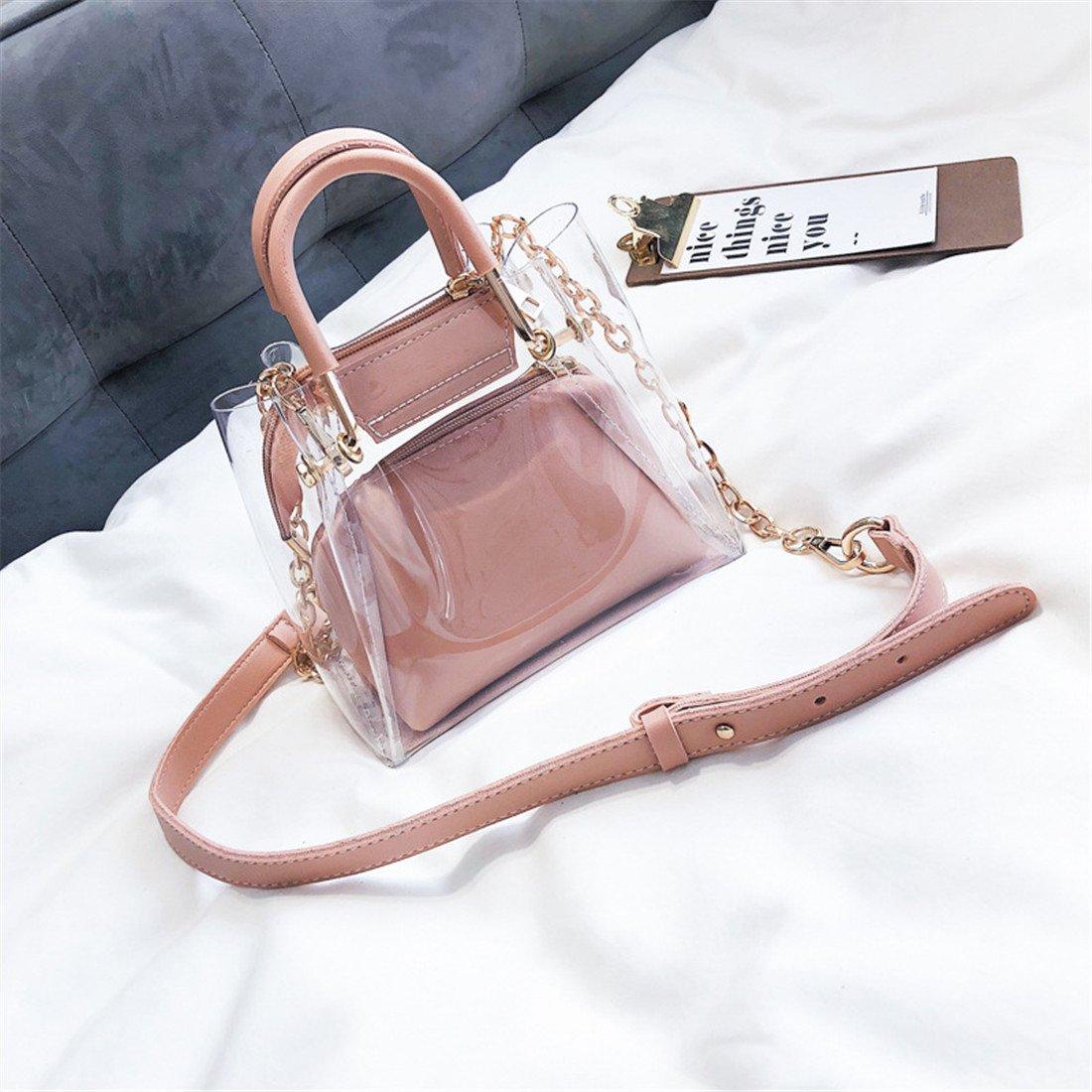 Luckywe PVC claro mujeres Cadena hermosa de jalea bolsas asa superior bolso carteras diseñador A10 Rosado: Amazon.es: Zapatos y complementos