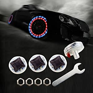 LEADTOPS Car Wheel Tire Light LED, 4-Pack Solar Energy Motion Sensors Flashing Colorful Gas Nozzle LED Tire Schrader Valve Cap Lights Lamp Bulb Waterproof for Car Auto Motorcycles Bicycles