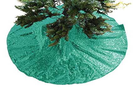 shinybeauty embroidered and sequined holiday green sequin tree skirt 24inch christmas tree skirt - Teal Christmas Tree Skirt