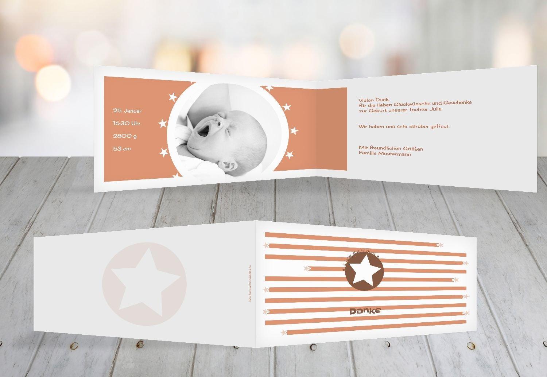 Kartenparadies Danksagung für Geburt Baby Dankeskarte a new star, hochwertige Danksagungskarte Baby inklusive Umschläge   100 Karten - (Format  215x105 mm) Farbe  Hellbraun B01N7XRF95 | Um Zuerst Unter ähnlichen Produkten Rang  | Ermäßigung  |