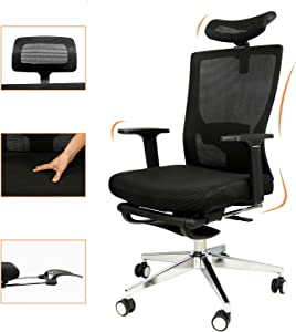 Office Chair Mesh, High Back Desk Chair with Armrests Footrest Headrest Height Adjustable Ergonomic Computer Chair 180°Reclining Lumbar Support Computer Chair BIFMA Certified