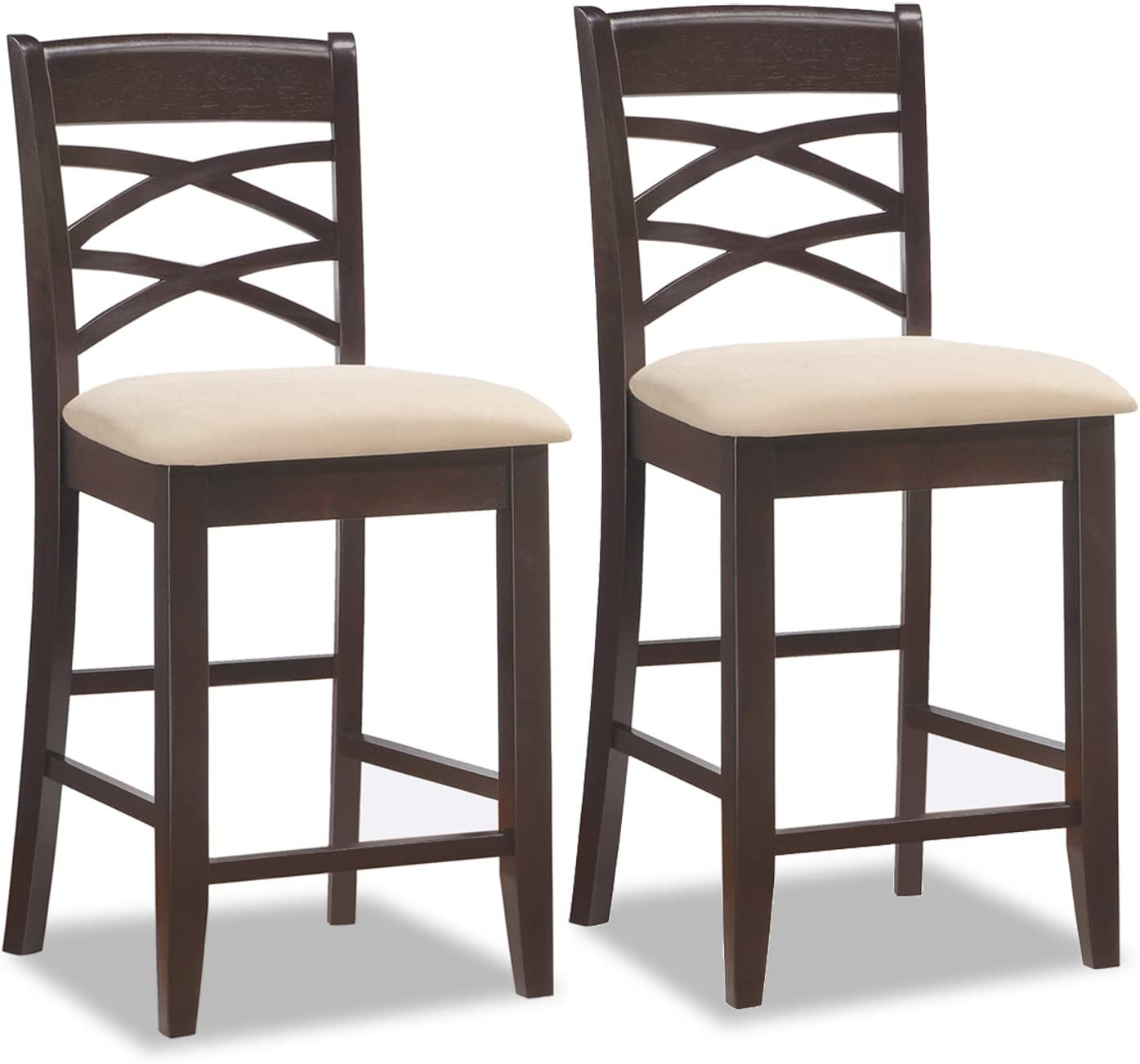 Leick Wood Double Cross Back Counter Height Bar Stool with Beige Microfiber Seat, Set of 2
