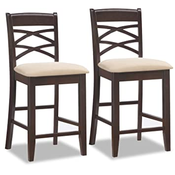 leick wood double cross back counter height bar stool with beige microfiber seat set of