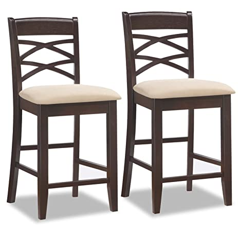 Leick Wood Double Cross Back Counter Height Bar Stool with Beige Microfiber Seat Set of  sc 1 st  Amazon.com & Amazon.com: Leick Wood Double Cross Back Counter Height Bar Stool ... islam-shia.org