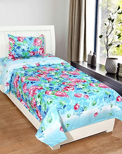 Amazing Homefab India 140 TC Polycotton Single Bedsheet With Pillow Cover   Floral,  Multicolor