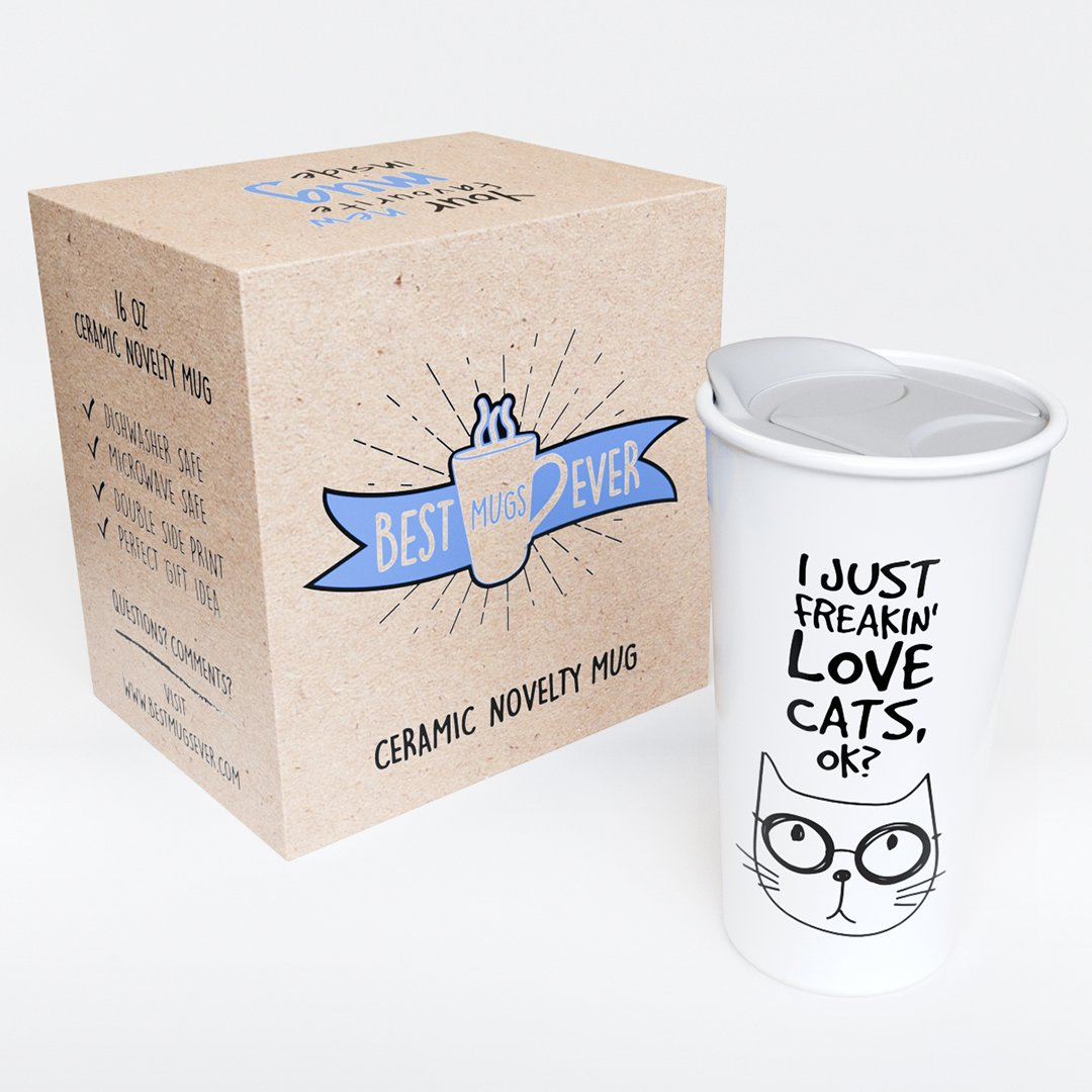 Ceramic Travel Coffee Mug with Lid (12 oz) - I Just Freakin' Love Cats, OK? - Funny Quote Novelty Coffee Mug - Gift For Cat Lovers - Double Wall Ceramic - BPA-Free Lid - Dishwasher Safe. 5.6''x 3.5'' by Comfify (Image #2)