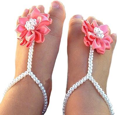 Newborn Kids Girls Sandals Pearl Footwear Baby Accessories Jewelry Foot Anklets