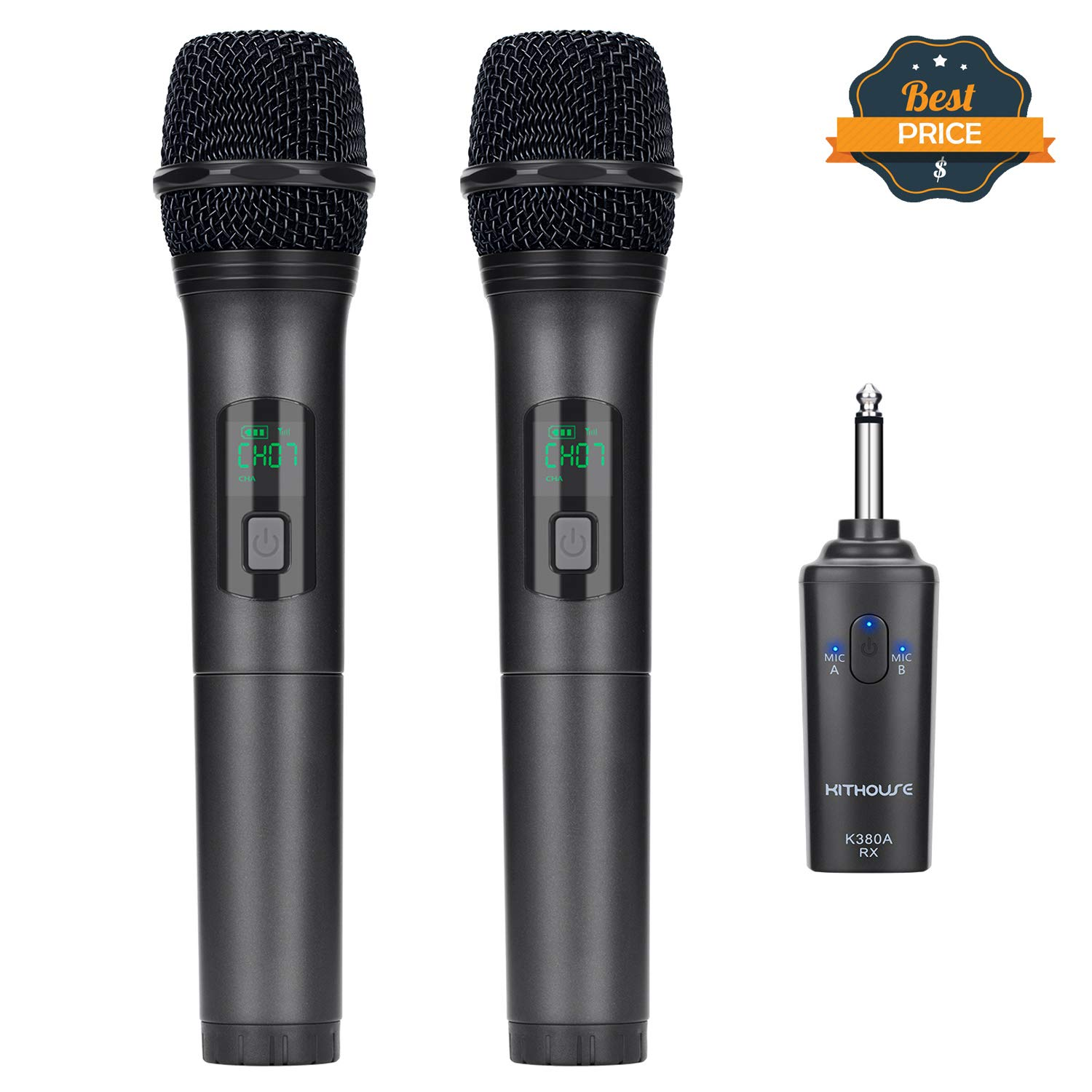 Kithouse K380A Wireless Microphone Karaoke Microphone Wireless Mic Dual With Rechargeable Bluetooth Receiver System Set - UHF Handheld Cordless Microphone For Singing Speech Church(Elegant Black) by KITHOUSE