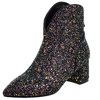 top quality hot sale online first rate Vitalo Womens Sparkly Glitter Cowboy Mid Block Heel Ankle Boots Charming  Dress Booties