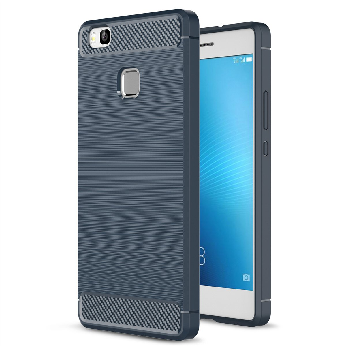 Huawei P9 Lite Case Landee Soft Tpu Shock Absorption Brushed Carbon Armor Hard Xiaomi Mi5s Mi 5s And Fiber Design Silicone For 52 Navy Blue Cell Phones