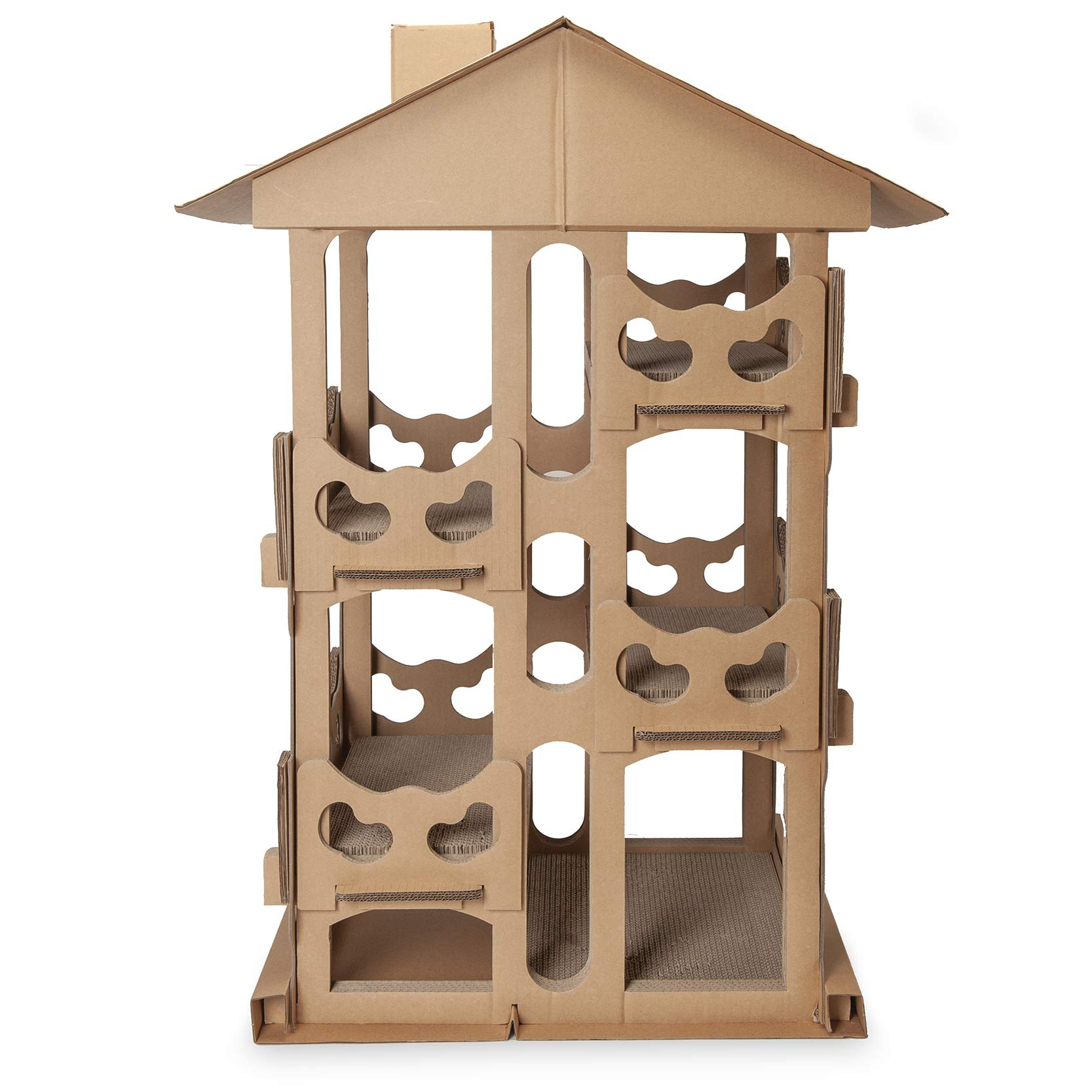 Furhaven Pet Cat Furniture   Corrugated Cat Scratcher Tower Playground Condo Hideout Pet House Apartment w/ Catnip for Cats & Kittens, Cardboard (Brown), One Size by Furhaven