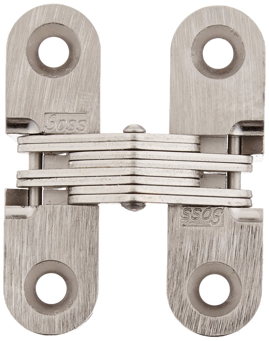 Pack of 2 Satin Nickel Exterior Finish Mortise Mounting SOSS 203 Zinc Invisible Hinge with Holes for Wood or Metal Applications