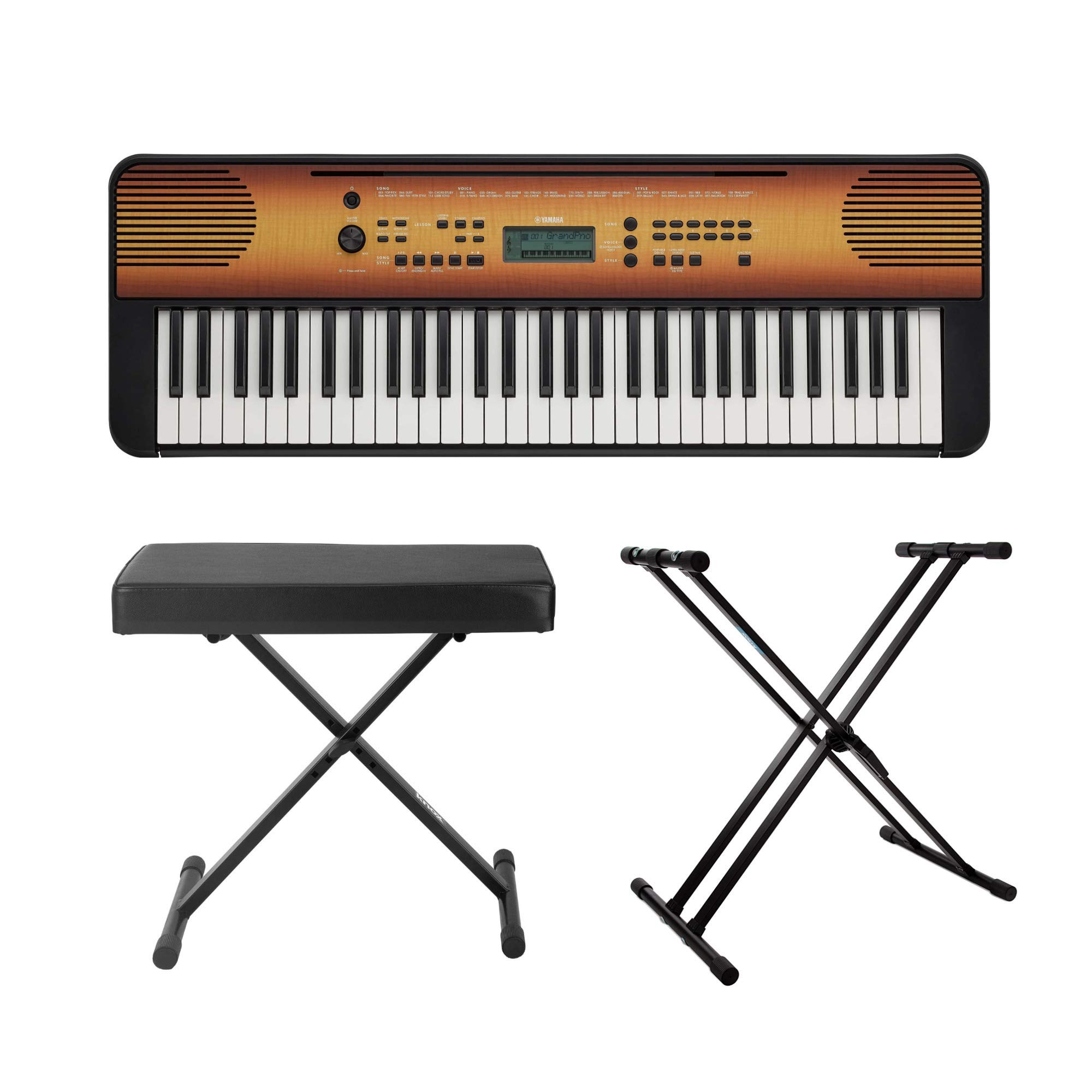 Yamaha PSRE360MA 61-Key Portable Keyboard Bundle with Knox Gear Keyboard Stand and Bench by YAMAHA