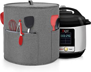 Yarwo Dust Cover Compatible with 8 qt Instant Pot, Cotton Canvas Cover with Pockets and Top Handle for 8 Quart Pressure Cooker and Kitchen Tools, Gray