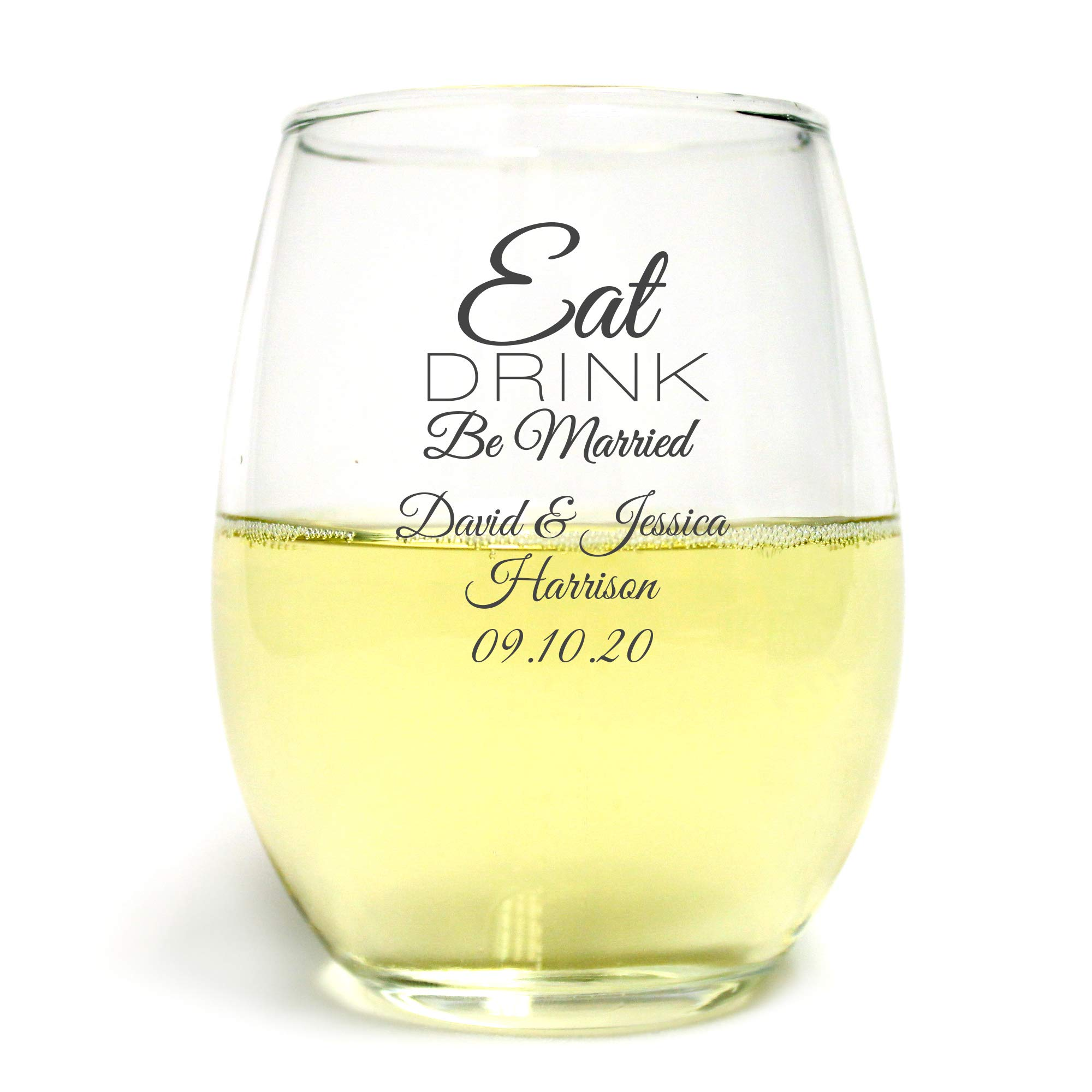 288 Pack Eat Drink Be Married 9 oz Wine Glass, Personalized Stemless Wine Glass, Black, Housewarming Gifts for New Home Best Friend Surprise Bride to Be