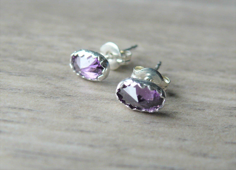 Silver Studs Amethyst Earrings 5mm . Sterling 925 Silver Amethyst Jewelry . Classic Studs . Amethyst Stud Earrings . Handmade .