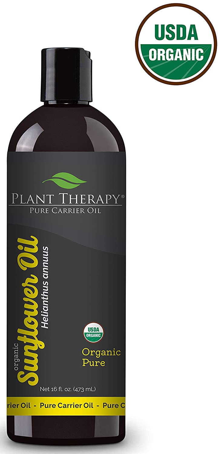 Plant Therapy Organic Sunflower Carrier Oil + PUMP. A Base Oil for Aromatherapy, Essential Oil or Massage use. 16 Ounce.