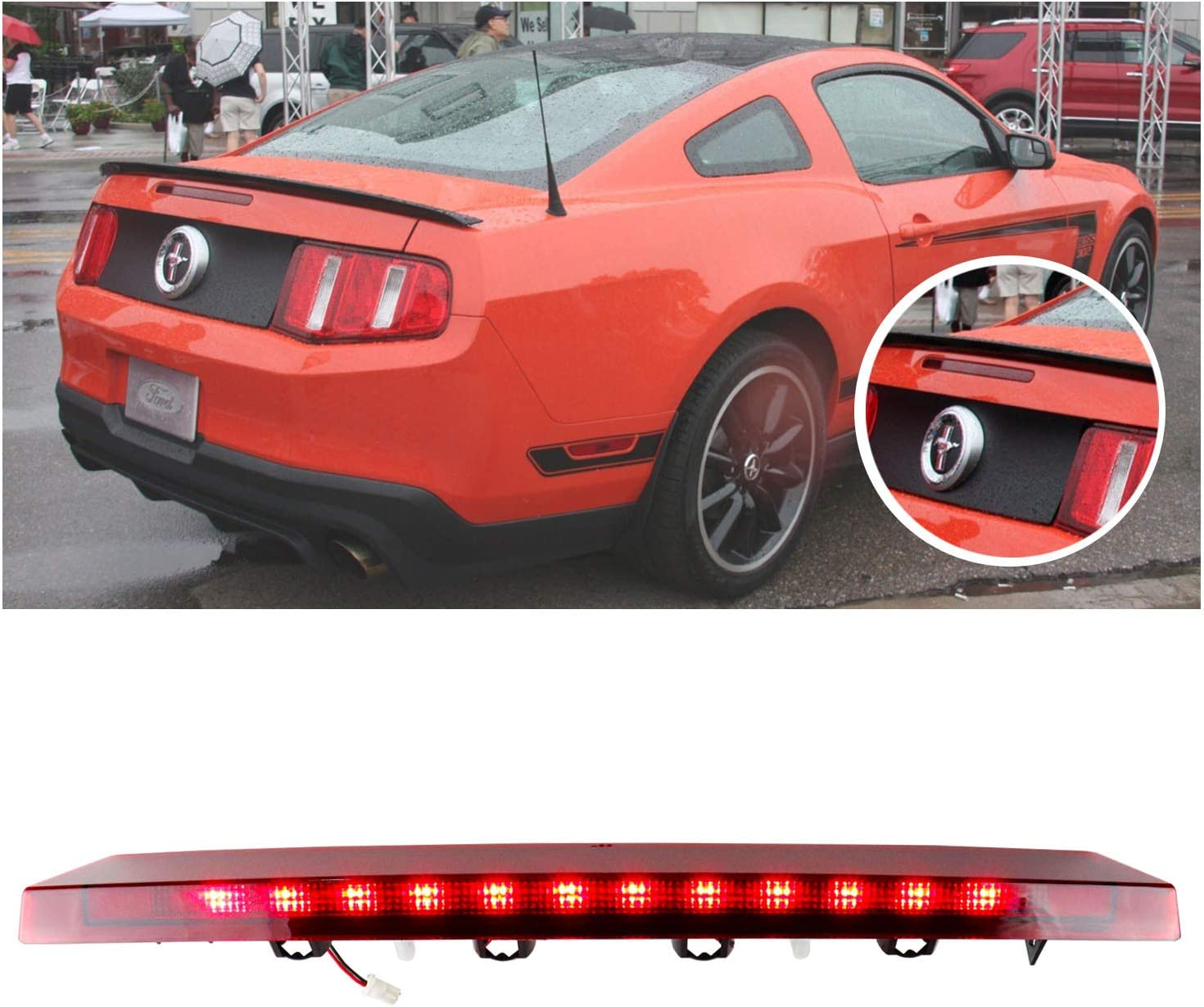 1999-2004 Ford Mustang Replacement Tail Lights Brake Rear Stop Lamps Black Pair