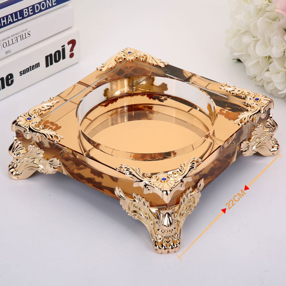 X&M Glass ashtrays for cigarettes,Four corners glass ashtray handmade and outdoor decorative,Diameter8(In)-B 22cm(9inch)