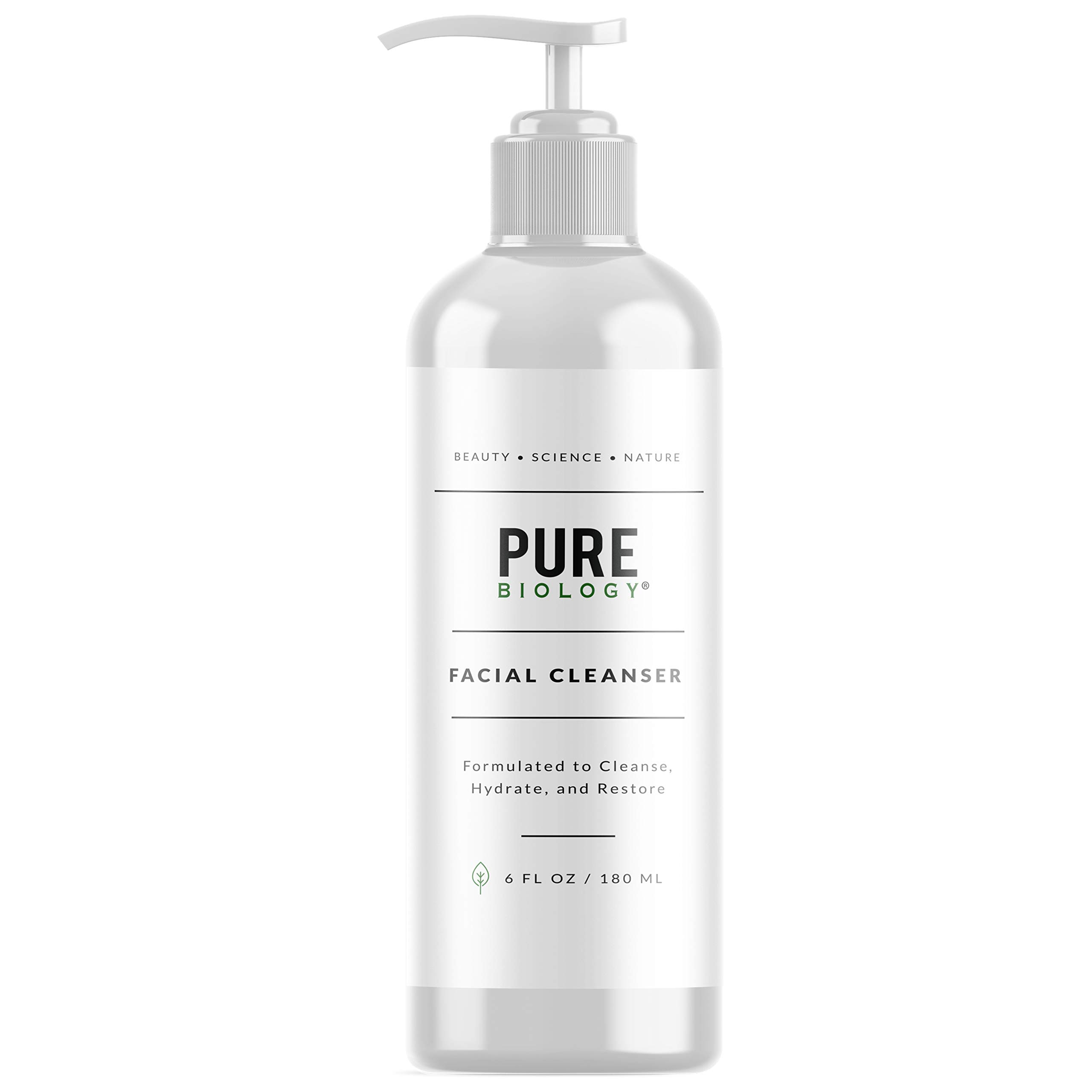 Pure Biology Facial Cleanser with Hyaluronic Acid & Breakthrough Anti Aging Complex to Minimize Pores, Fill Deep Wrinkles & Brighten Complexion for Men & Women of All Skin Types, 6oz by Pure Biology