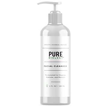 Pure Biology Facial Cleanser with Hyaluronic Acid & Breakthrough Anti Aging  Complex to