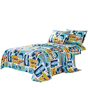 WPM Kids Collection Bedding 3 Piece Blue Ocean Life Twin Size Sheet Set with Flat Fitted Sheets Pillow sham Blue Whale Fun Sun Water surf Design (Ocean Life Whale, Twin Sheet Set)