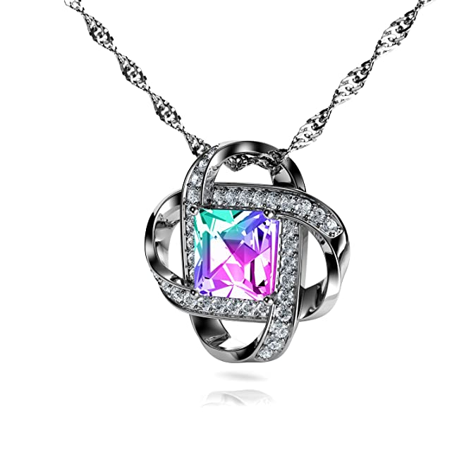 Square Pendant is Embellished with Aurore Boreale Swarovski® Crystal EpE6MYB