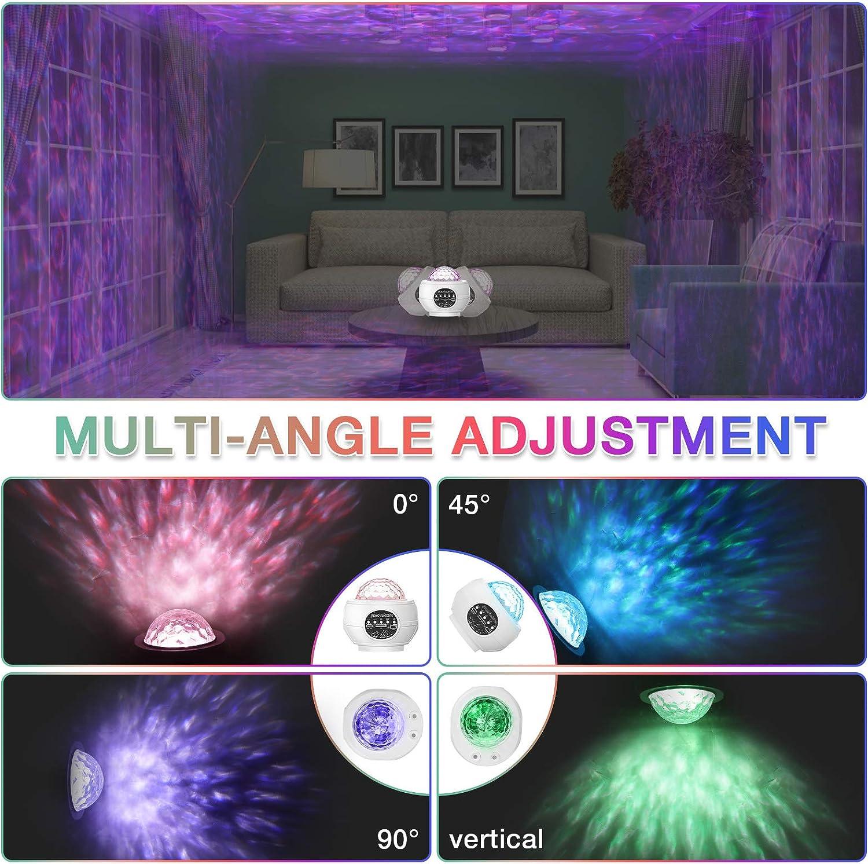 Bluetooth Enceinte T/él/écommande Timer 27 modes Projecteur ciel /étoile LED pour Chambre Enfants F/ête Cadeau lampe projecteur de veilleuse rotatif GLIME avec musique et vagues deau