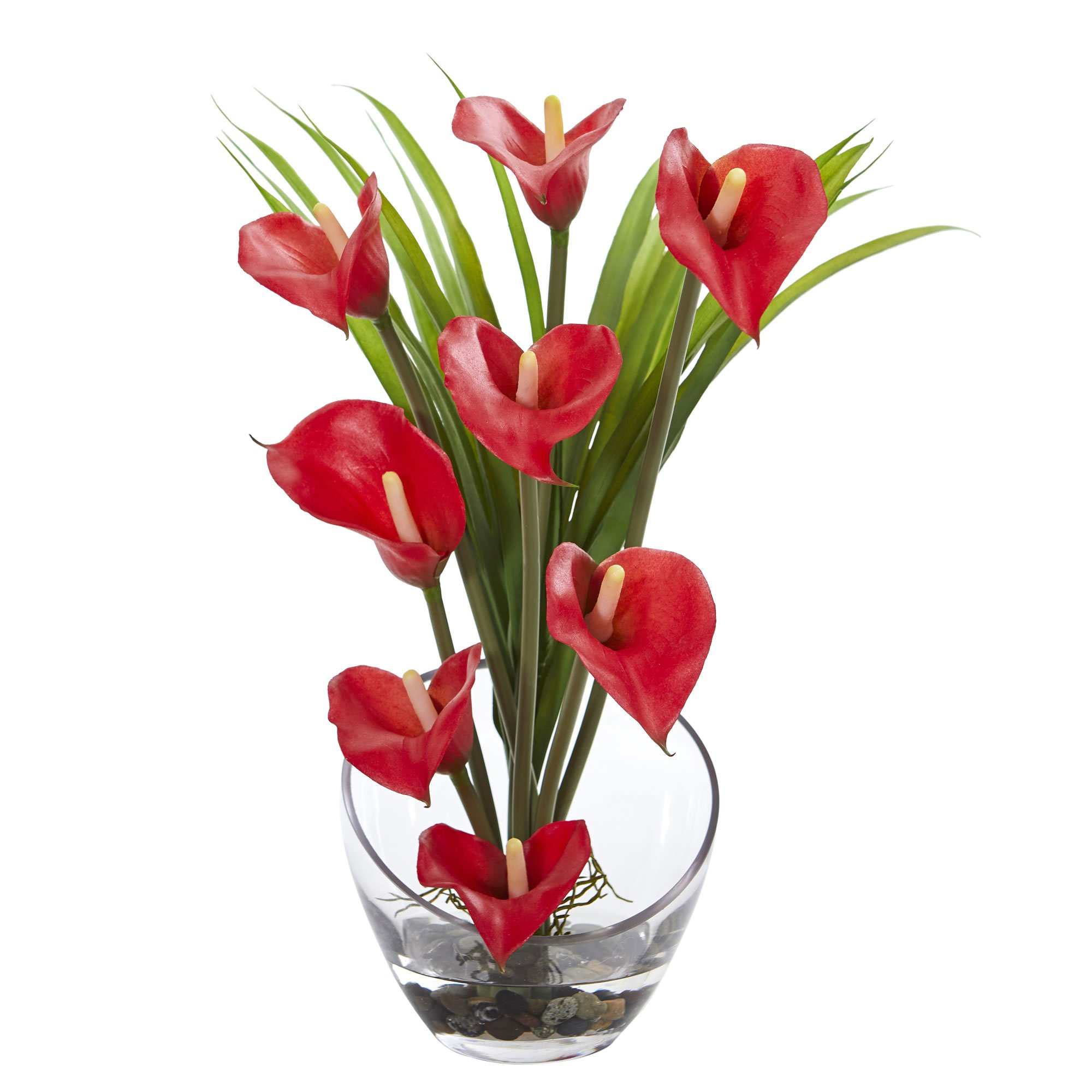 Nearly Natural Calla Lily and Grass in Vase, 15.5'', Red by Nearly Natural
