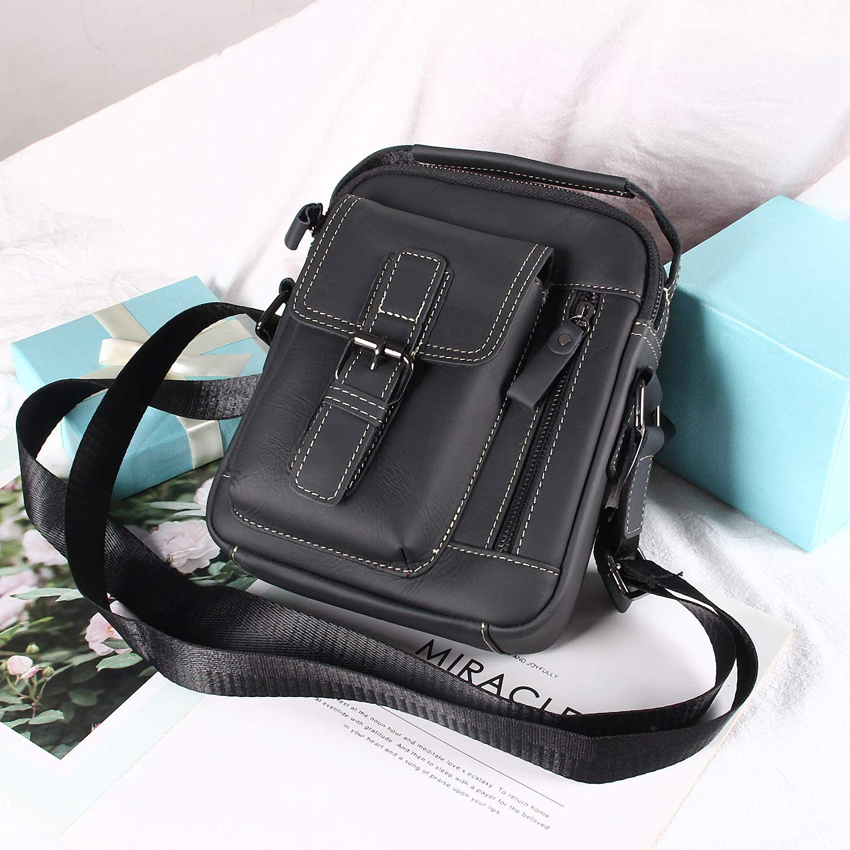 Mens Genuine Leather Messenger Bag Vintage Shoulder Bag Oil wax Cowhide Leather Crossbody Bag Handbag Briefcase Coffee